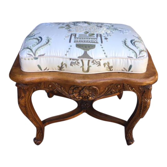 Vintage Walnut French Provincial Bench With Embroidered Upholstery For Sale