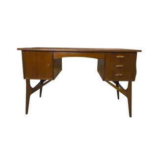 1970s Mid-Century Modern Sputnik Space Age Teak Tanker Desk For Sale