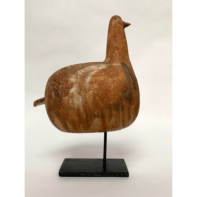 Fabulous, rare ceramic bird attributed to Aldo Londi for Bitossi Italy, ca. late 1960s/early 1970s. The bird features the...