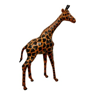 Vintage Tall Leather Giraffe Figure For Sale