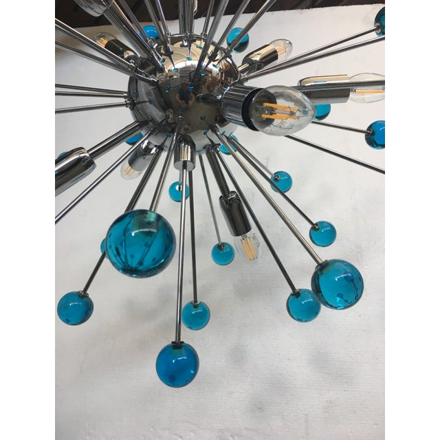 Blue Murano Glass Chandelier in Sputnik Style With a Chrome Frame For Sale - Image 11 of 13