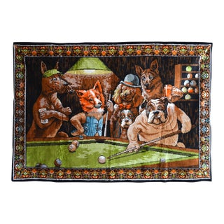 Vintage - Dogs Playing Pool - Wall Tapestry Wall Rug - 48ʺ X 69ʺ For Sale