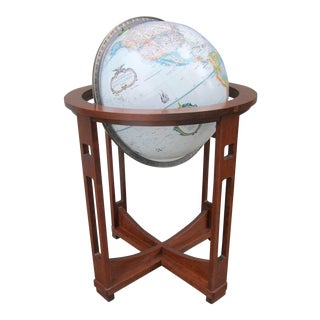 Vintage Ethan Allen Globe on Cherry Wood Stand For Sale