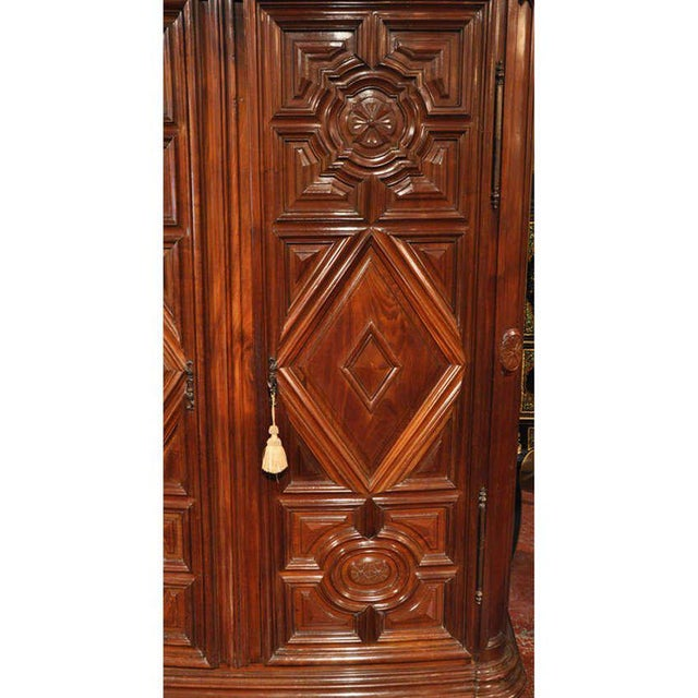 18th Century French Carved Walnut Bow-Front Perigord Armoire - Image 4 of 8