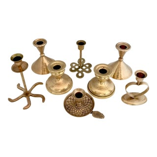 Vintage Brass Candle Stick Holders- Set of 8 For Sale