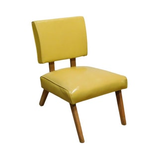 Mid Century Modern 1950 Yellow Vinyl Viking Artline Slipper Chair For Sale