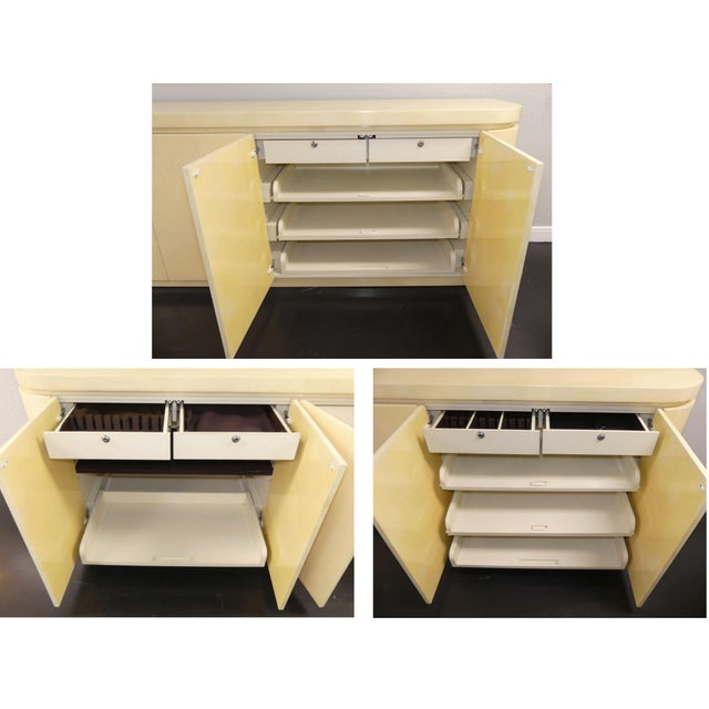 Mid-Century Modern Jimeco Ltda Lacquered Goatskin Credenza For Sale - Image 10 of 13