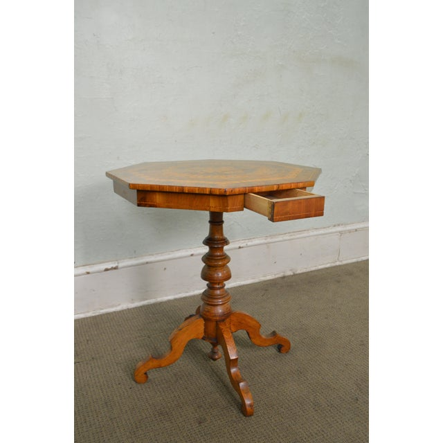 Antique Italian Walnut Marquetry Inlaid Octagon Top Pedestal Side Table - Image 8 of 10