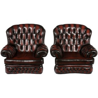 Tufted Red Leather Club Arm Chairs - A Pair For Sale
