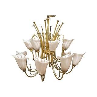 Vintage Murano Venini Brass Two-Tier Chandelier Preview