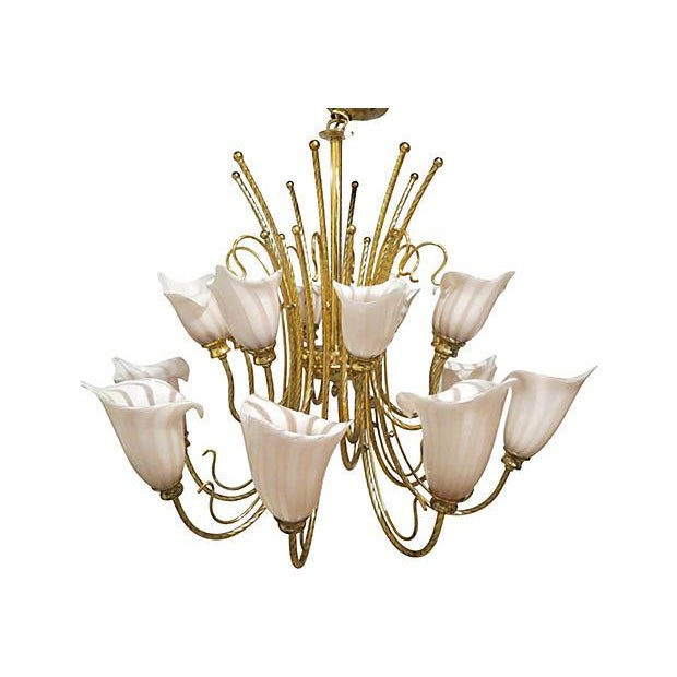 Vintage murano venini brass two tier chandelier chairish gorgeous two tiered 16 light venini chandelier with twisted brass arms and light pink bobeches aloadofball Images