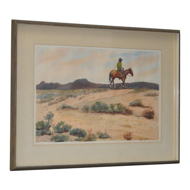 "John B. Munroe ""Desert Tranquility"" Watercolor c.1960s For Sale"