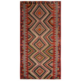 Vintage Mid-Century Esme Diamond Blue and Red Wool Kilim Rug- 5′3″ × 9′11″ For Sale