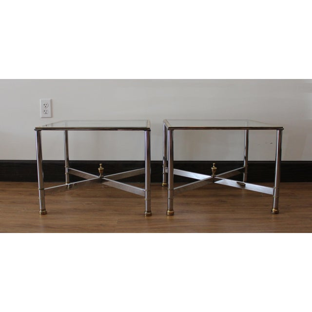 Hollywood Regency Vintage French Brass, Chrome & Glass Side Tables - A Pair For Sale - Image 3 of 5