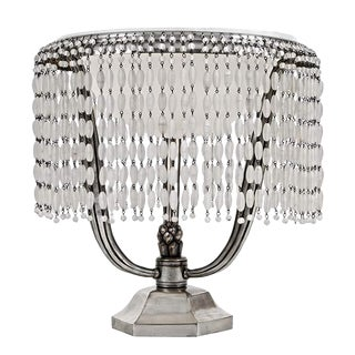 Solid Silver Bronze Art Deco Ruhlmann Hollywood Boudoir Lamp With Alabaster Shade and Frosted Glass Bead Drapery For Sale