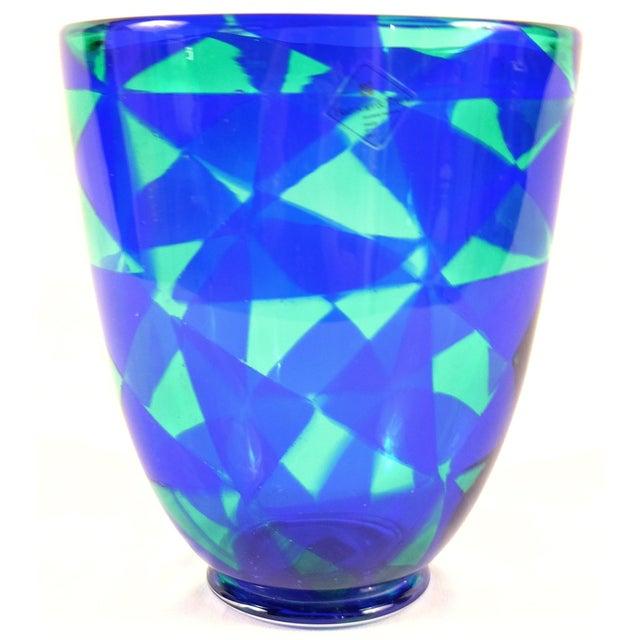Barovier & Toso Blue Mosaic Triangle Murano Venezia Glass Vase For Sale In Miami - Image 6 of 6