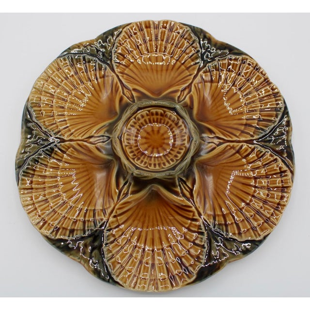 Brown 1930s French Sarreguemines Scallop Shell Oyster Plate For Sale - Image 8 of 9