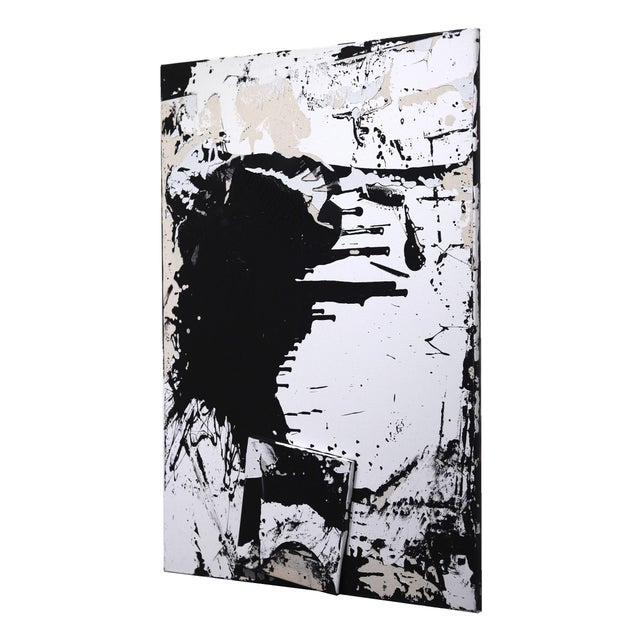"""Black Original Black and White Textural Painting """"0010"""" by Cole Altuzarra For Sale - Image 8 of 12"""