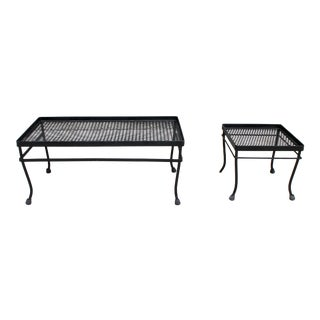 Iron and Mesh Tables by Russell Woodard For Sale