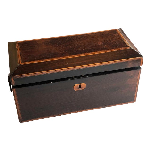 Mahogany Box With Lion Head Handles For Sale