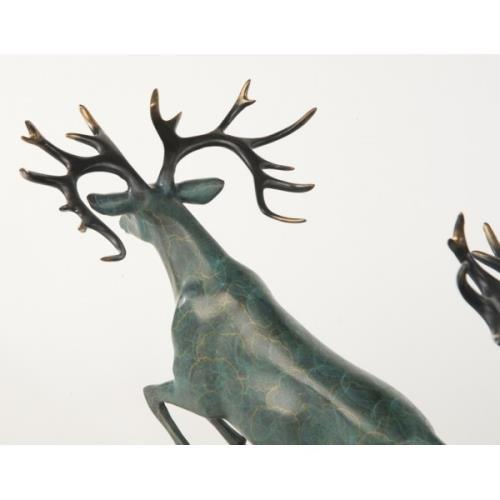 Two Running Stag Reindeer Bronze Statue For Sale In Washington DC - Image 6 of 9