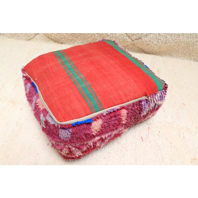 Purple Vintage Moroccan Wool Pouf Cover For Sale - Image 8 of 13