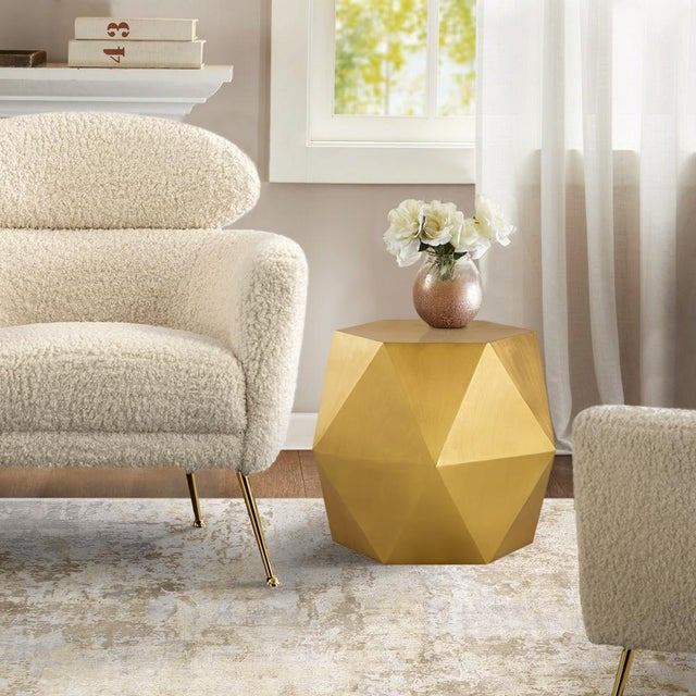 2020s Pasargad Home Lexi Side Table - Brass For Sale - Image 5 of 7