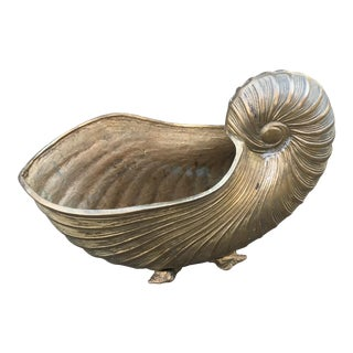 Vintage Brass Nautilus Shell Planter