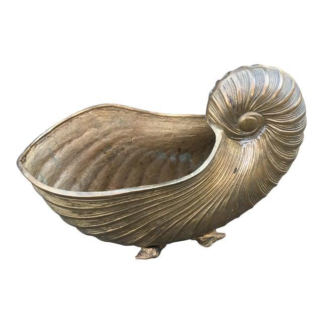 Vintage Brass Nautilus Shell Planter - Image 1 of 8