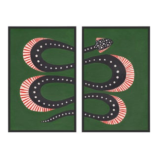 Zucchini the Snake by Willa Heart in Black Framed Paper, Medium Art Print For Sale