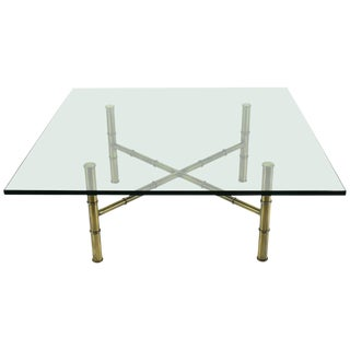 Hollywood Regency Faux Bamboo Coffee Table For Sale