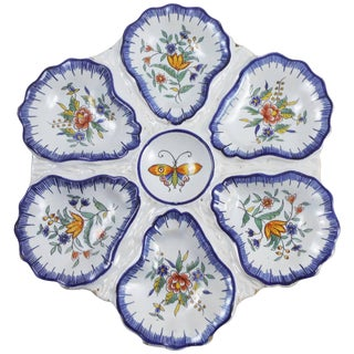 19th Century Fourmaintraux Signed Faience Butterfly Oyster Desvres Plate For Sale