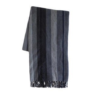 Gray Striped Guatemalan Blanket For Sale