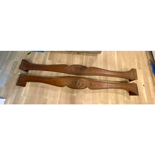 Brown Antique English Carved Window Cornices - a Pair For Sale - Image 8 of 8