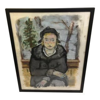 Terry Bruszewski Young Girl Pastel Painting on Paper, Framed For Sale