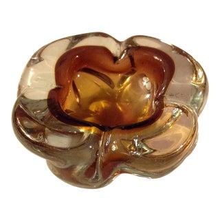 Brown Twisted Glass Pretzel Ashtray