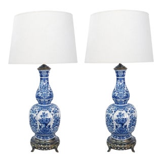 Antique Dutch Delftware Blue and White Double-Baluster Vases Mounted as Lamps - a Pair For Sale