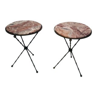 Pair of Fabulous Faux Bamboo & Brass Midcentury Modern Side Tables Accent Tables For Sale