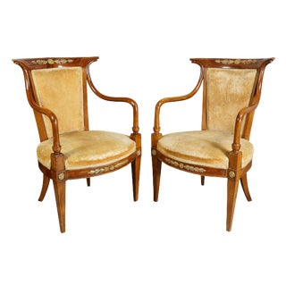 Pair of Italian Neoclassic Walnut and Giltwood Armchairs For Sale