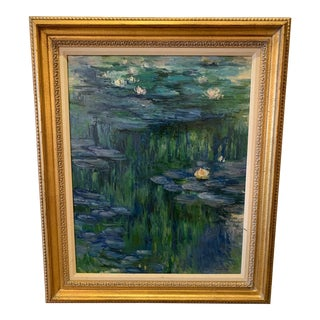 Lily Pond Landscape Painting in the Style of Monet For Sale
