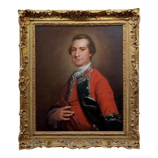 Manner of Thomas Gainsborough -18th Century Portrait of a English Officer - Oil Painting For Sale
