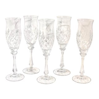 Mikasa Vintage Blown Cut Chateau Champagne Flute Glasses - Set of 5 For Sale