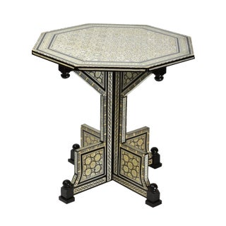 Black & White Mother of Pearl Inlaid Center Table For Sale