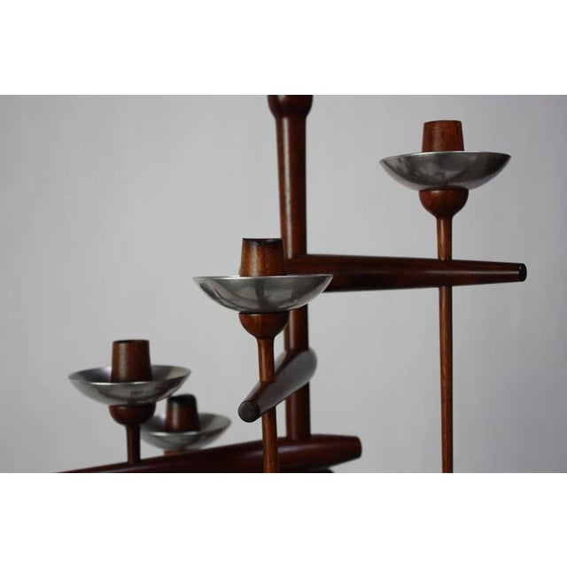 1960s James Martin Carved Walnut Floor Candelabrum For Sale - Image 9 of 11