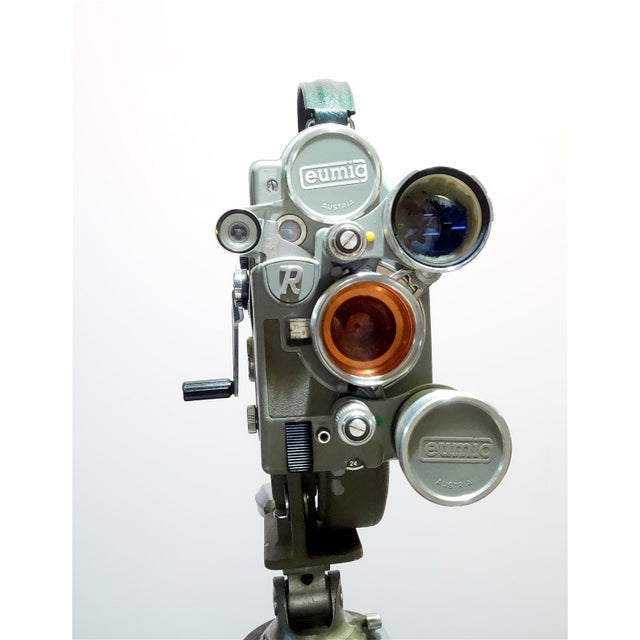 Aluminum 1956 Austrian Motion Picture Camera on Wood Tripod Vintage Perfect Display For Sale - Image 7 of 12