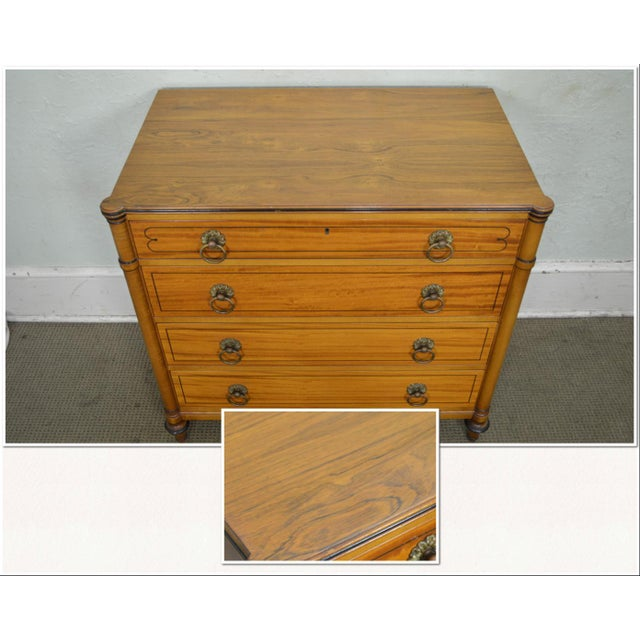 1950s Kittinger Regency Style Pair of Satin Wood Chests of Drawers For Sale - Image 5 of 13