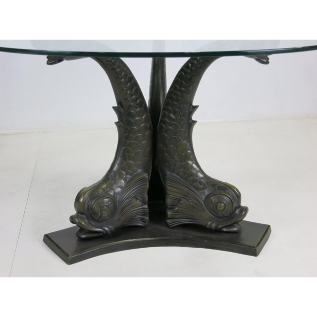 1950s Large Scale Patinated Bronze Venetian Dolphin Dining Table For Sale - Image 5 of 5