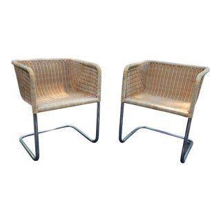 Vintage Mid-Century Modern Rattan Harvey Probber Cantilevered Chairs - a Pair For Sale