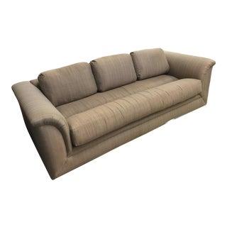 Tone on Tone Brown Woven Fabric Swaim Sofa For Sale