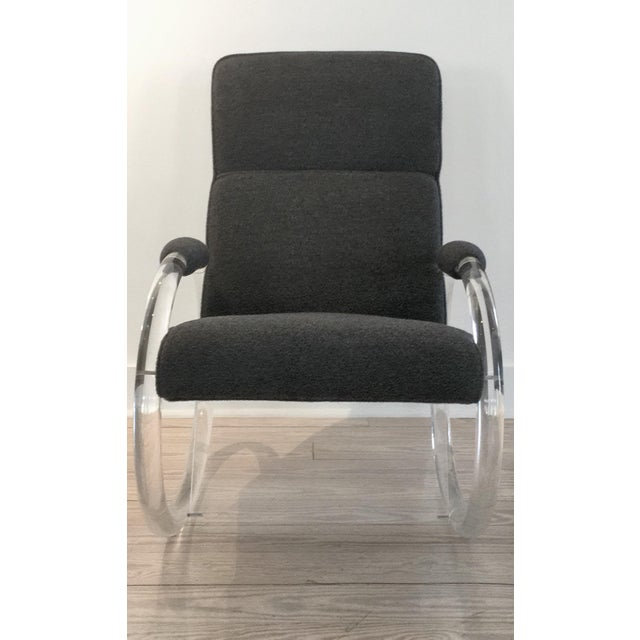 "This is a 1970's Lucite Rocker by Charles Hollis Jones (a.k.a ""Mr. Lucite"") with Steel Grey Alpaca Upholstery. 32"" deep,..."